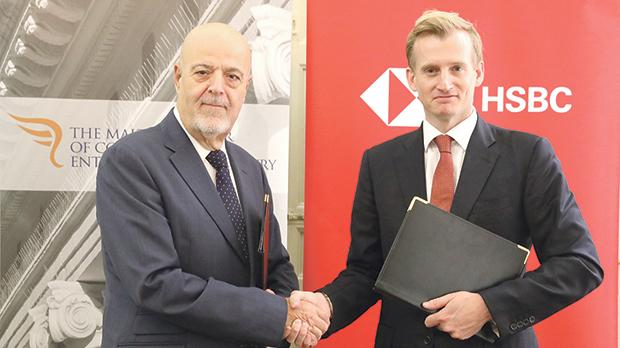Malta Chamber of Commerce president Frank Farrugia (left) with HSBC Malta CEO Andrew Beane.