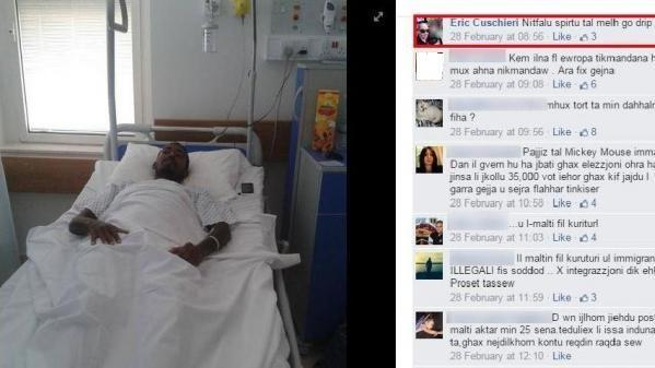 A post showing hate speech against a migrant who was hospitalised.