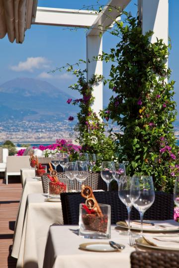 Dining at the Caruso, with the Vesuvio in the distance.