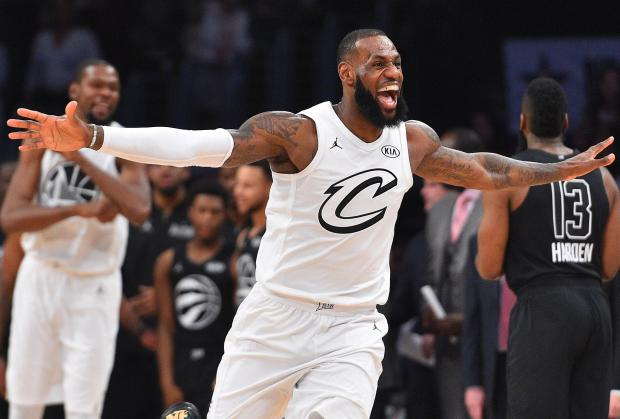 Team LeBron forward LeBron James of the Cleveland Cavaliers (23) celebrates the victory against Team Stephen following the 2018 NBA All Star Game at Staples Center. Photo Credit: Bob Donnan-USA TODAY Sports