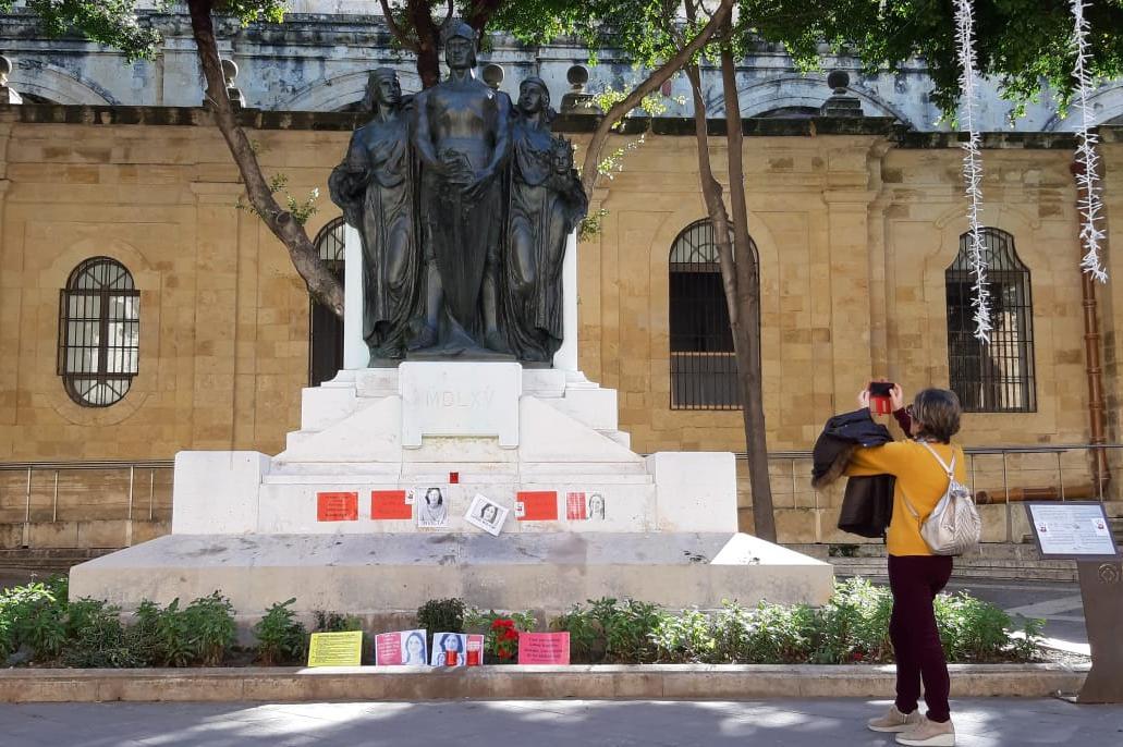 Daphne Caruana Galizia's memorial today. Photo: Chris Sant Fournier