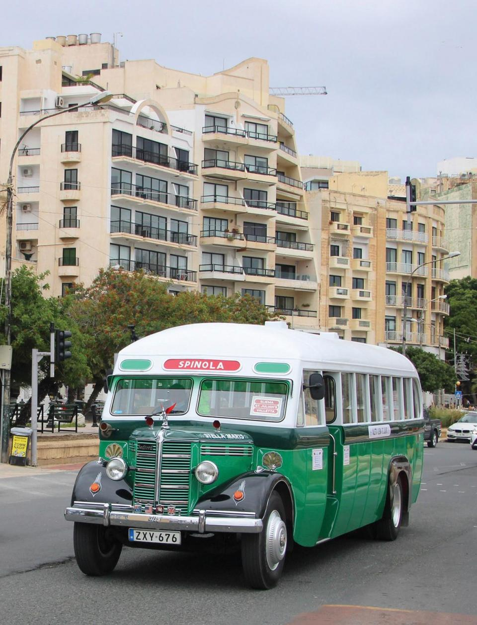 The two-tone green and white bus serving the old Sliema route.