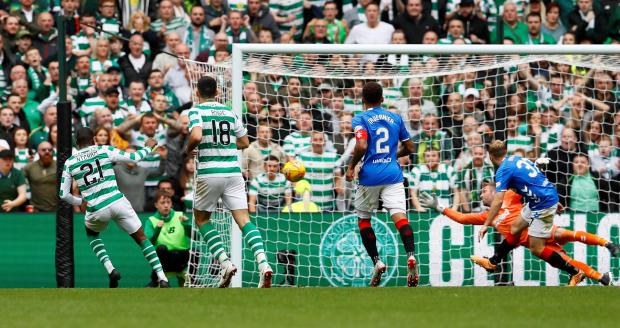 Celtic's Olivier Ntcham scores their first goal.
