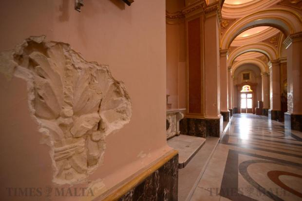 A series of late-baroque reliefs, which two parishioners discovered by accident under plastered pillars that survived World War II in the Senglea parish church, are being restored by the Rehabilitation Projects Office, as seen on May 23. Photo: Matthew Mirabelli