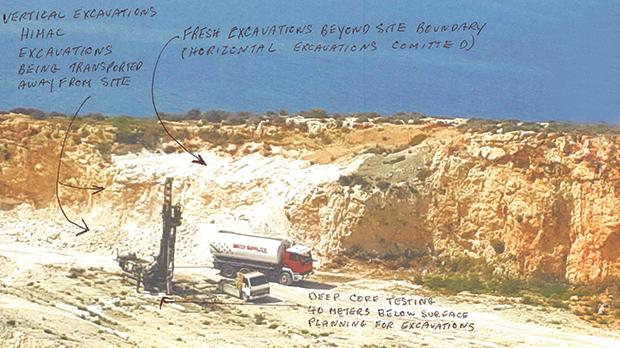 A picture received by this newspaper, whose source, from the construction industry, noted down the fresh rock excavation and core testing that has been carried out on site.