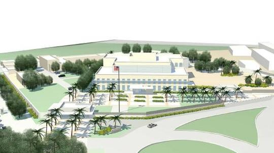 The new $125.5 million embassy compound consists of eight separate buildings on 10 acres. The new chancery will be approximately twice as large as the current one, and more than twice as expensive to operate. The work is 11 months behind schedule.