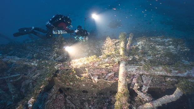 A diver on a historic wreck off Malta at a depth of 70 metres. Photo: University of Malta/J. Wood