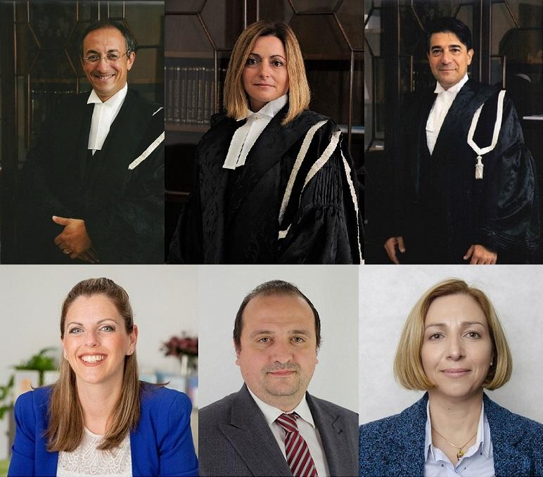The judges and magistrates approved last April. Top, from left: Francesco Depasquale, Joanne Vella Cuschieri and Aaron Bugeja, bottom from left: Nadine Lia, Victor Axiak and Bridget Sultana.