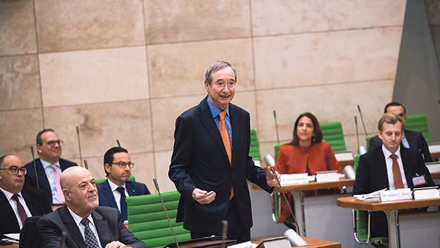 Christoph Leitl, president of Eurochambres, addressing the Maltese Parliament of Enterprises session.