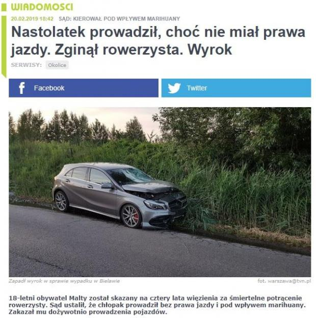 Young Maltese man sentenced to prison according to Polish media. Photo: tvn warszawa