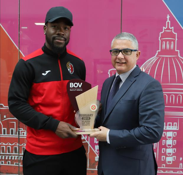 Ħamrun striker Wilfried Domoraud (left) has been voted as the Player of the Month.