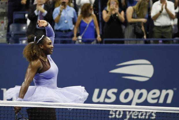 Serena Williams of the United States salutes the crowd after her match against Anastasija Sevastova of Latvia (not pictured) in a women's semi-final match on day eleven of the 2018 U.S. Open tennis tournament at USTA Billie Jean King National Tennis Center. Mandatory Credit: Geoff Burke-USA TODAY Sports