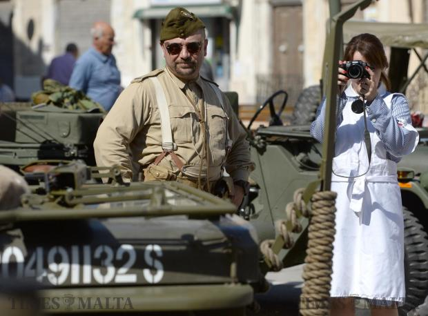 Re-enactors participate in an event organized by the Zejtun Local council on May 13, marking the tragedy that happened in the Square in 1942 during World War II. Photo: Matthew Mirabelli