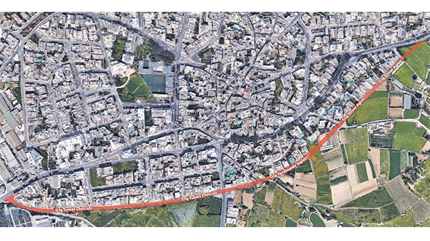 The route of the planned Attard Bypass is marked in red.