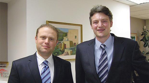 Prime Minister Joseph Muscat with Minister Without Portfolio Konrad Mizzi.