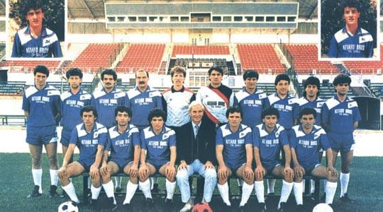 Mosta FC 1986-87. Back: S. Muscat, M. Chircop, S. Cuschieri, E. Tabone, J. Degiorgio, M. Ciantar, R. Borg, G. Muscat, P. Vella II, C. Schembri. Seated: L. Deguara, E. Buhagiar, P. Vella I, J. Attard (coach), A. Gatt, J. Busuttil, M. Muscat. Inset: I. Galea, F. Sant.
