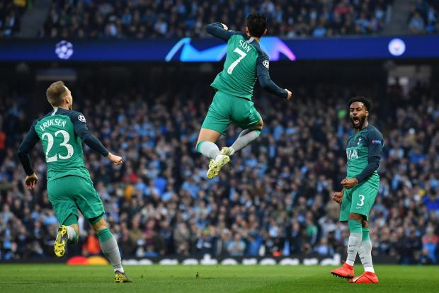 Tottenham Hotspur's South Korean striker Son Heung-Min celebrates after he scores the team's second goal.