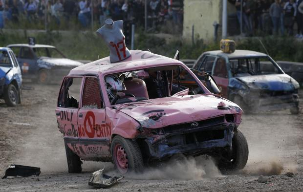 Jessica Butler Magro in action during Sunday's Ladies Demolition Derby. Photo: Darrin Zammit Lupi