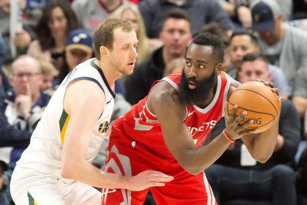 Utah Jazz forward Joe Ingles (2) defends against Houston Rockets guard James Harden (13) during the second half at Vivint Smart Home Arena. Photo Credit: Russ Isabella-USA TODAY Sports
