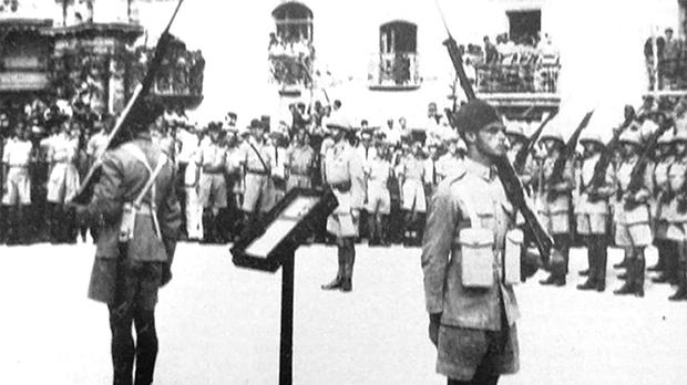 The awarding of the George Cross in the Palace Square, Valletta, in 1942.