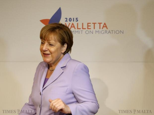 German Chancellor Angela Merkel attends the Valletta Summit on Migration at the Mediterranean Conference Centre in Valletta on November 12. Photo: Darrin Zammit Lupi