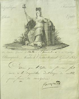 Document signed by Bonaparte in 1798 conceding St John's in Valletta to the exclusive use of the Catholic Church.