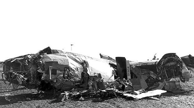 The wreckage of the BEA Elizabethan airliner after the crash in Munich in which 23 died. Eight of the victims were Manchester United players.