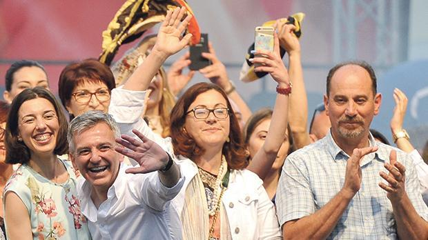 Marlene and Godfrey Farrugia (third and fourth from left) with Simon Busuttil last year.