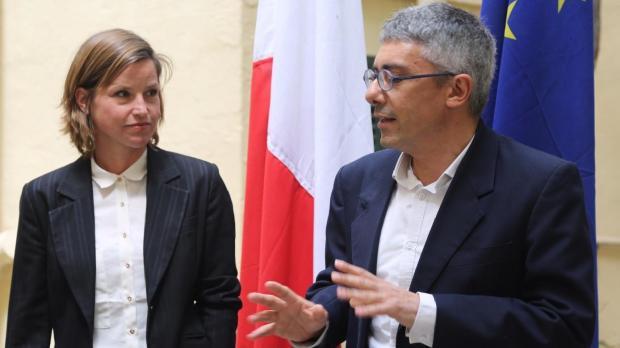 Malta Pavilion curators Bettina Hutschek and Raphael Vella.