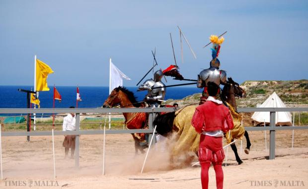 Two jousting re-enactors go head to head at the Jousting festival at Fort Rinella in Kalkara on May 24. Photo: Mark Zammit Cordina