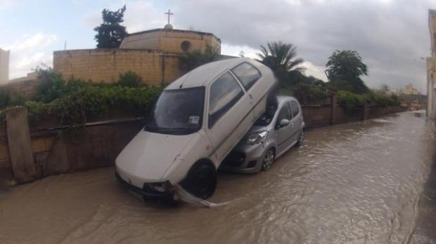 More cars damaged in Qormi - Picture - Stephen Zammit Lupi.