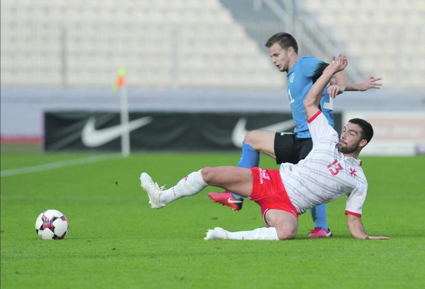 Zach Muscat in action for Malta against Estonia. Photo: Matthew Mirabelli