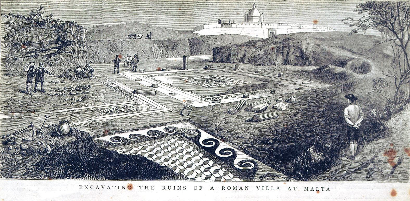 This incision depicting Antonio Annetto Caruana's excavation was published on the front page of the British weekly newspaper The Graphic on June 25, 1881.