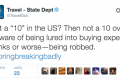 State Department apologises for 'less-than-attractive' travel tweet