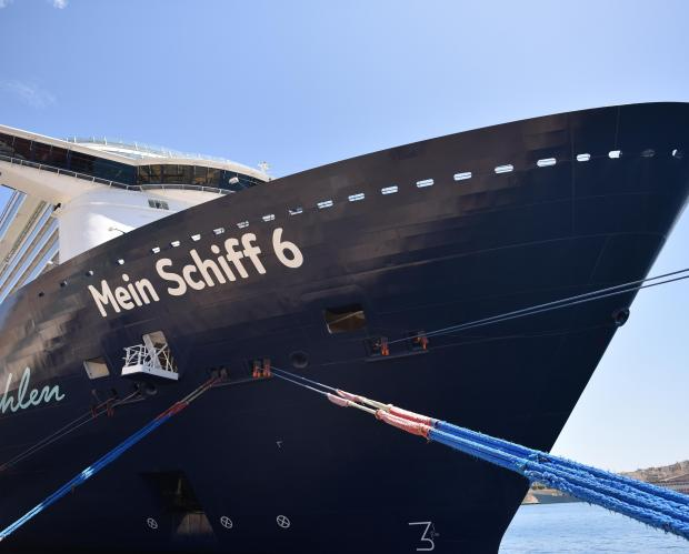 One of the largest cruise ships from the Mein Schiff fleet berths in Valletta on May 05. Photo: Mark Zammit Cordina