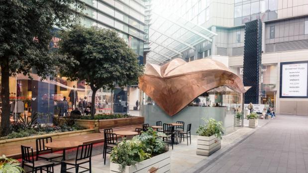 The team's copper leaf outside Westfield Shopping Mall.