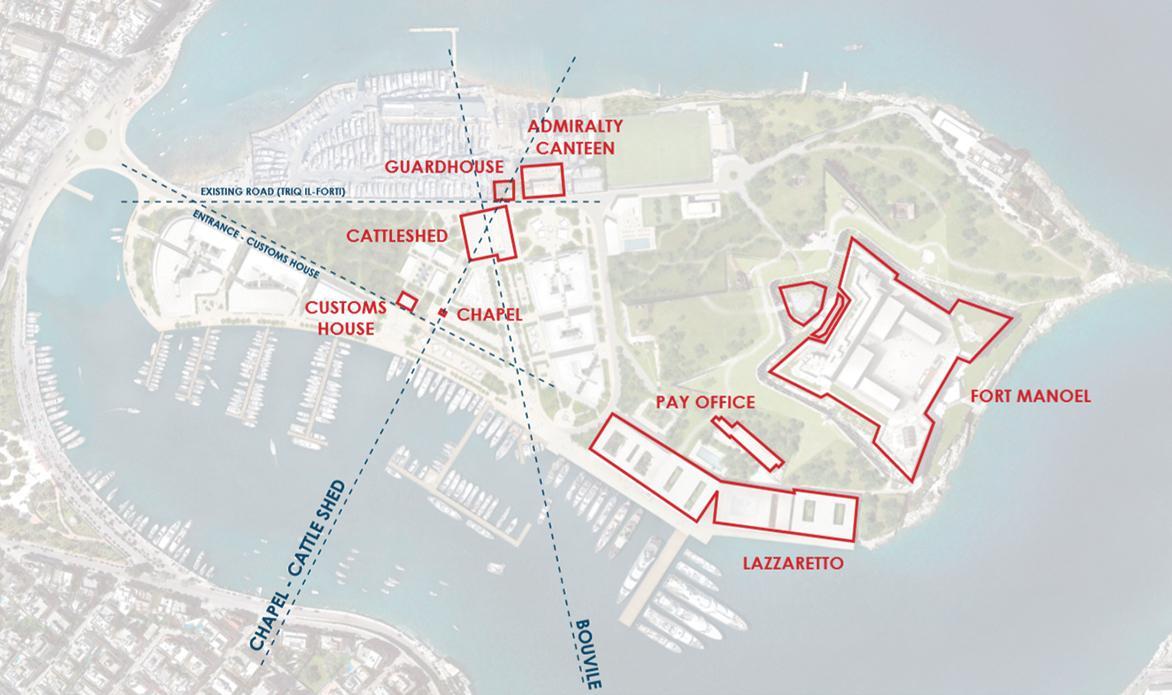 Historic landmarks on Manoel Island that were incorporated in MIDI's revised master plan.