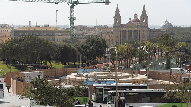 What remains of the Triton Fountain in Valletta as its bronze elements await restoration.