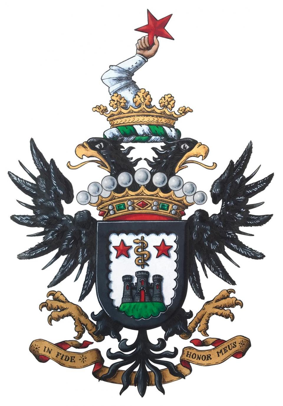 The coat of arms of Lieutenant Colonel Count Charles A. Gauci, the new chief herald