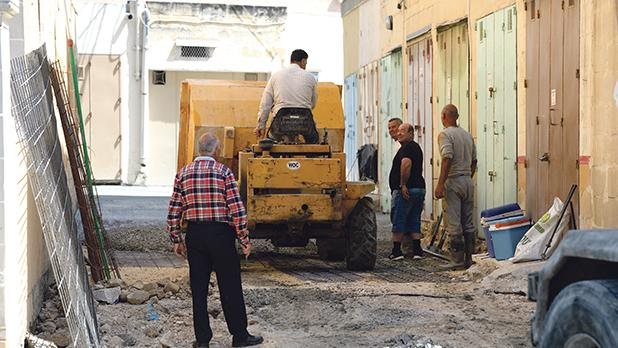 Works on Triq Bellic, a private road in Qormi, yesterday.