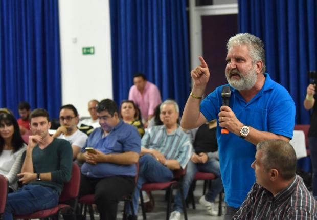 A resident objects to the development of a new hotel during a public consultation meeting in Pembroke on May 14. Photo: Mark Zammit Cordina