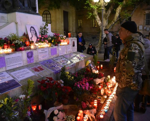 The monument has doubled up as a shrine to the slain journalist. Photo: Mark Zammit Cordina