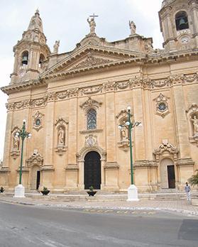 Naxxar parish church where Dun Alwiġ celebrated Mass every morning.