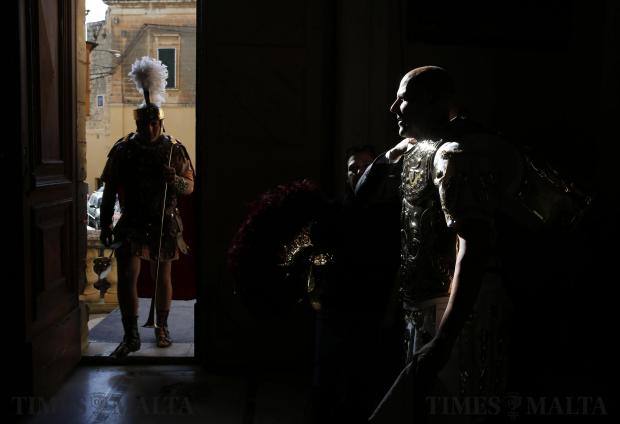 A participant dressed as a Roman soldier prepares to take part in a Good Friday procession in Zebbug on March 25. Photo: Darrin Zammit Lupi