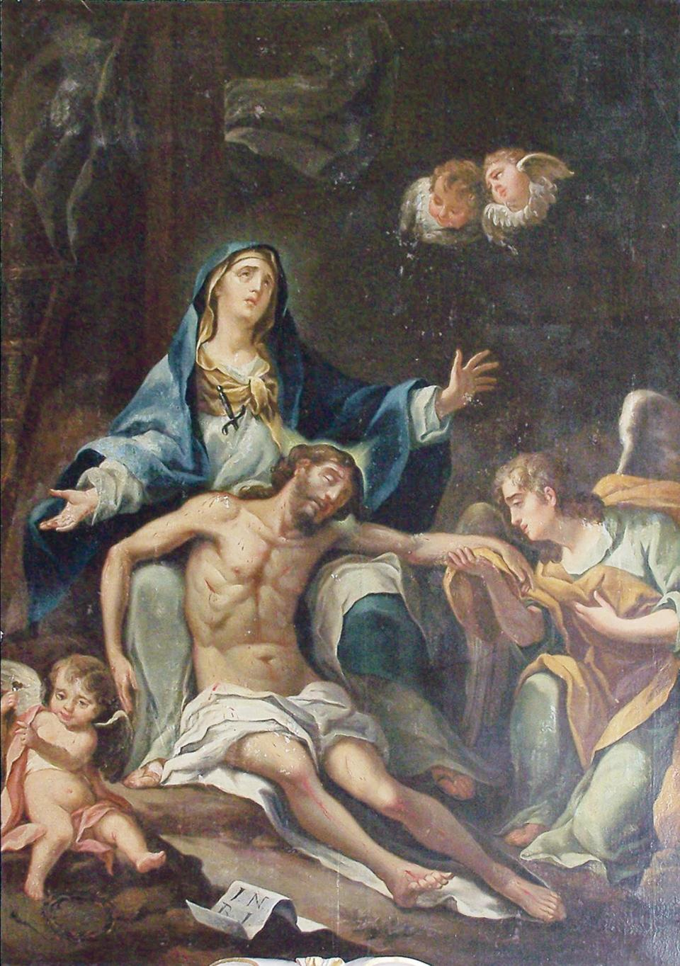 Francesco Zahra's Our Lady of Sorrows, oil on canvas (1740-1750)