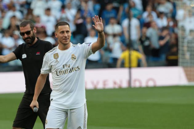 a86b8da78 Eden Hazard new Real Madrid player, is presented by Florentino Perez,  president of the