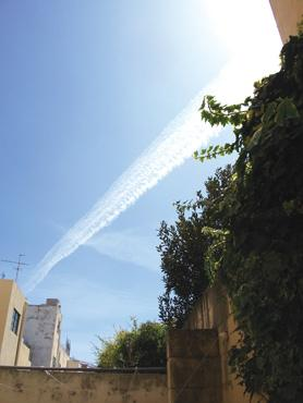'Chemtrail' over Malta? Or simply a condensation trail formed by aircraft exhaust when atmospheric humidity is high?