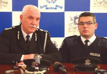 Deputy Commissioner Ray Zammit, left, addressing a press conference yesterday. Photo: Matthew Mirabelli