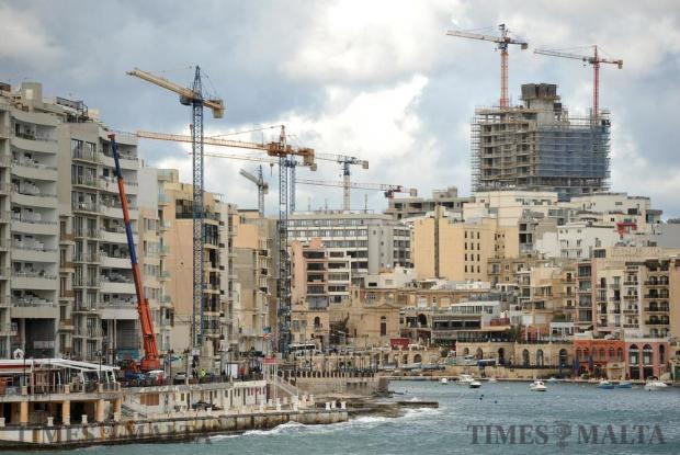 Cranes and tower cranes at work in St Julian's on January 6. Photo: Chris Sant Fournier