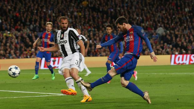Barcelona's Lionel Messi shoots at goal, one of his many misses.